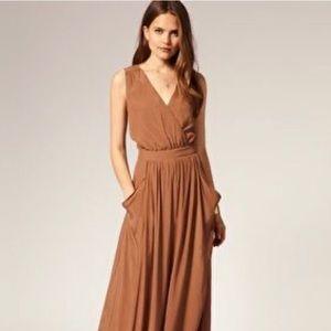 Frances Cross Over Maxi Dress in Khaki